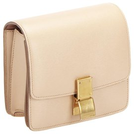 Céline-Celine Pink Classic Box Small Leather Crossbody Bag-Pink,Other