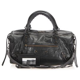 Balenciaga-Balenciaga Black Motocross Twiggy Lambskin Leather Satchel-Black