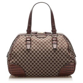 Céline-Celine Brown Macadam Velour Handbag-Brown,Dark brown