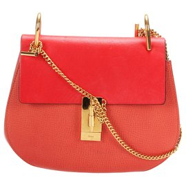 Chloé-Chloe Red Drew Leather Crossbody Bag-Red