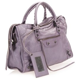 Balenciaga-Balenciaga Purple Motocross Classic City Lambskin Leather Satchel-Purple