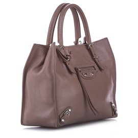 Balenciaga-Balenciaga Brown Papier A4 Leather Satchel-Brown