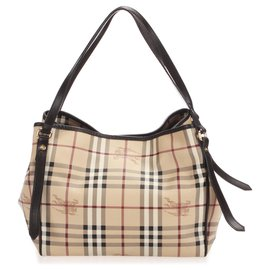 Burberry-Burberry Brown Haymarket Check Canterbury Coated Canvas Tote Bag-Brown,Beige