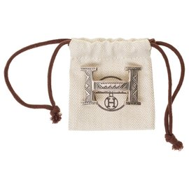 Hermès-Rare Hermès Touareg belt buckle in solid silver-Silvery