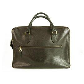 Mulberry-Mulberry Heathcliffe Briefcase in dark brown grained leather business handbag-Brown