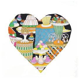 Hermès-Hermes La Patisserie Francaise heart Womens scarf multi color-Other