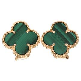 Van Cleef & Arpels-Van Ceef et Arpels 18Boucles d'oreilles K Yelow Gold Malachite Alhambra-Vert,Jaune