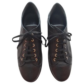 Chanel-Chanel leather sneakers 42-Black