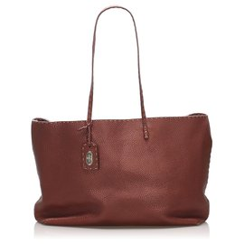 Fendi-Fendi Red Selleria Leather Tote Bag-Red,Dark red