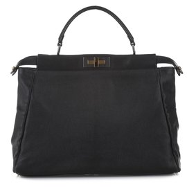 Fendi-Fendi Black Peekaboo Leather Satchel-Black