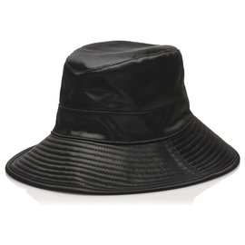 Hermès-Hermes Black Leather Hat-Black