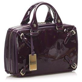 Céline-Celine Purple Patent Leather Handbag-Purple