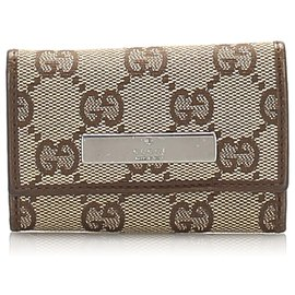 Gucci-Gucci Brown GG Canvas Key Holder-Brown