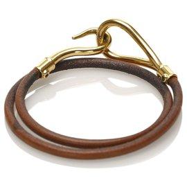 Hermès-Bracelet en cuir à crochet géant Hermes marron-Marron,Argenté