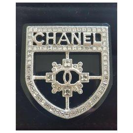 Chanel-Chanel Crystal Crest Shield Badge broche-Noir