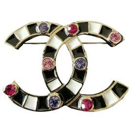 Chanel-Chanel broche avec cristaux-Multicolore