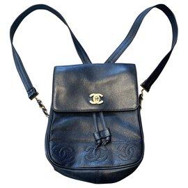 Chanel-Backpacks-Black,Gold hardware
