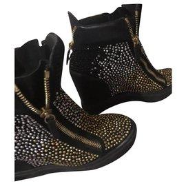 Giuseppe Zanotti-High top sneakers-Black,Silvery,Golden