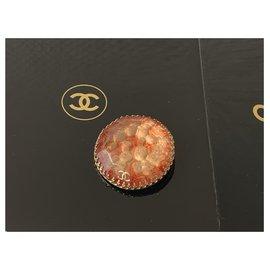 Chanel-Broches et broches-Rouge,Doré,Orange