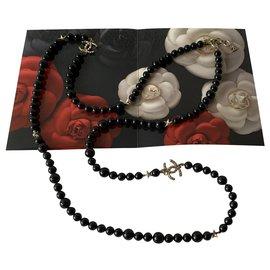 Chanel-Colliers longs-Noir,Bijouterie argentée