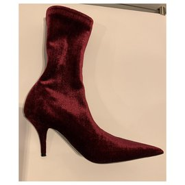 Balenciaga-Knife velvet ankle boots-Purple