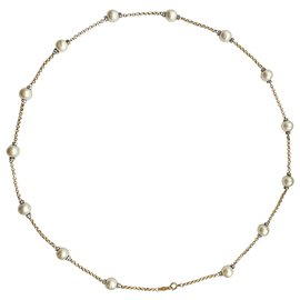 Chanel-Pearl and rhinestone long necklace-Gold hardware