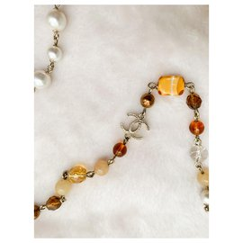 Chanel-CC pearls and glass paste long necklace-Golden