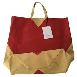 Céline-Bi-color heart tote bag in lambskin-Red