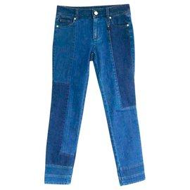 Alexander Mcqueen-Skull Trim Patchwork Jeans-Blue