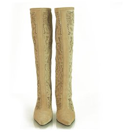 Casadei-Casadei Beige Suede Cut Out High Heels Pointed Toe Back Zip Boots Shoes sz 6-Beige
