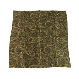 Céline-Celine Paisley Pattern Green Hues Square Print Silk Scarf-Green