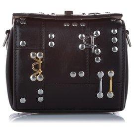 Alexander Mcqueen-Alexander McQueen Black Studded Box Leather Crossbody Bag-Black