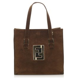 Fendi-Fendi Brown Suede Satchel-Brown