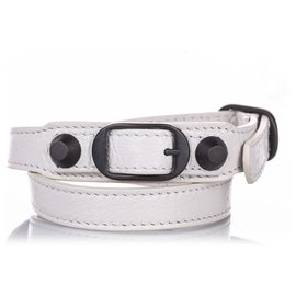 Balenciaga-Balenciaga White Classic Arena Wrap Leather Bracelet-Black,White