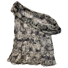 Chanel-COCO CHANEL tubular silk scarf-Dark grey