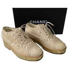 Chanel-CHANEL tweed and patent cork derbies P 38 Excellent condition-Beige