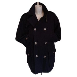 Autre Marque-Navy blue lined-breasted jacket coat-Dark blue