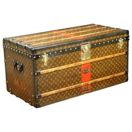 Louis Vuitton-Splendid Louis Vuitton Monogram mail trunk with stencil and solid brass fittings-Brown