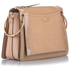 Chloé-Chloe Brown Roy Leather Satchel-Brown,Beige