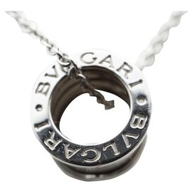 Bulgari-Bvlgari B.Zéro1 collier avec petit pendentif rond, tous les deux dans 18kt or blanc-Argenté,Bijouterie dorée