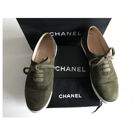 Chanel-Suede Low Top Trainers-White,Khaki