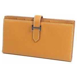 Hermès-HERMES Bearn Soufflet unisex long wallet gold x silver hardware-Golden,Silver hardware