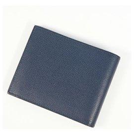 Hermès-HERMES Folded wallet Citizen Twill Silk In unisex wallet Navy-Navy blue
