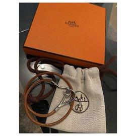 Hermès-Hermès, Bracelet en cuir à crochet géant Hermes marron-Marron,Argenté