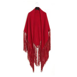 Hermès-RED CASHMERE SUEDE SHAWL TRIANGLE-Red