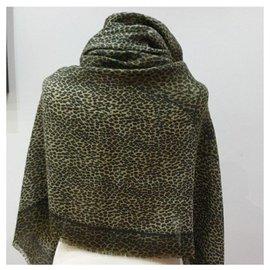 Les Copains-Les copains animal print scarf-Brown,Beige