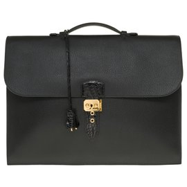 Hermès-Splendid Hermès men's bag Dispatch bag in black togo leather customized with black crocodile-Black