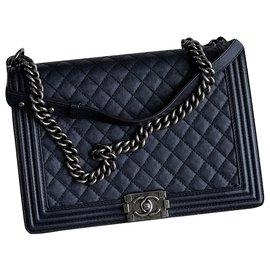 Chanel-Boy Bag in Navy Calf Caviar-Blue,Navy blue,Dark blue