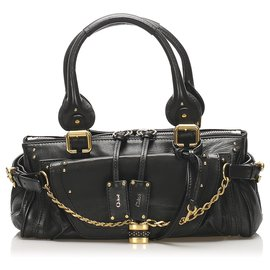 Chloé-Chloe Black Paddington Capsule Leather Shoulder Bag-Black