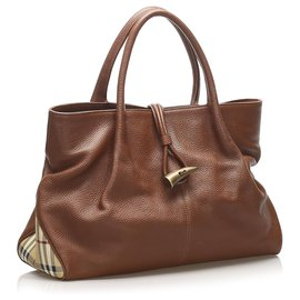 Burberry-Burberry Brown Leather Tote Bag-Brown,Multiple colors